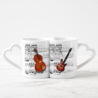 Mugs Violoncelo, low e musical partition Lovers Mug Sets