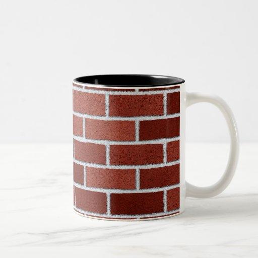Mugs with red bricks texture