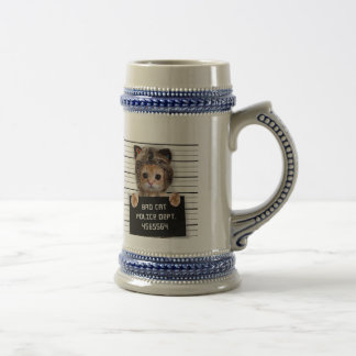 mugshot cat - crazy cat - kitty - feline beer stein