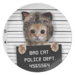mugshot cat - crazy cat - kitty - feline melamine plate