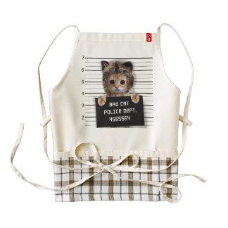 mugshot cat - crazy cat - kitty - feline zazzle HEART apron