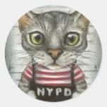 Mugshot de un criminal del gato etiquetas redondas