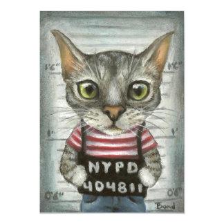 """Mugshot de un criminal del gato invitación 5"""" x 7"""""""