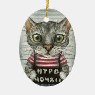 Mugshot de un criminal del gato ornaments para arbol de navidad