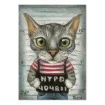 Mugshot de un criminal del gato tarjeta de visita
