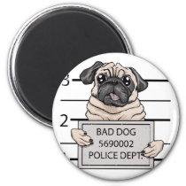 mugshot dog cartoon. magnet