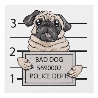 mugshot dog cartoon. panel wall art