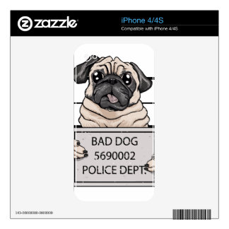 mugshot dog cartoon. skin for iPhone 4
