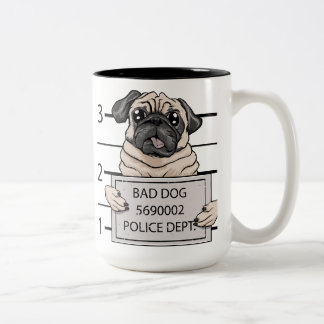 mugshot dog cartoon. Two-Tone coffee mug