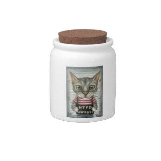 Mugshot of a cat felon candy jars
