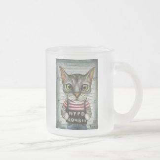 Mugshot of a cat felon frosted glass coffee mug