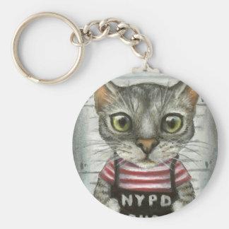 Mugshot of a cat felon keychain