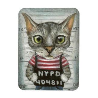 Mugshot of a cat felon rectangular photo magnet