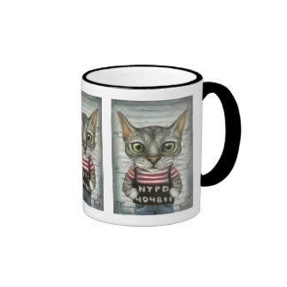 Mugshot of a cat felon ringer mug