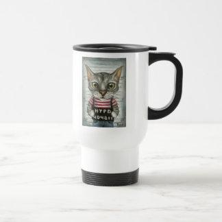 Mugshot of a cat felon travel mug
