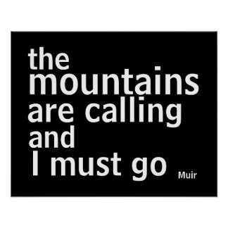 Muir quote poster bold black and white modern