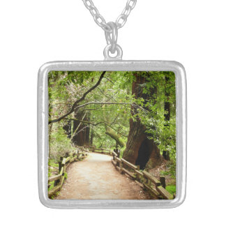 Muir Woods Path II Nature Photography Silver Plated Necklace