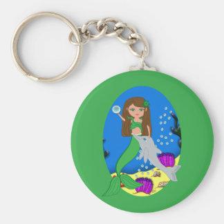 Muirenn el llavero verde de la sirena y del delfín