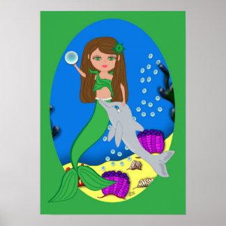 Muirenn el poster verde de la sirena y del delfín