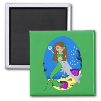 Muirenn the Green Mermaid and Dolphin Magnet