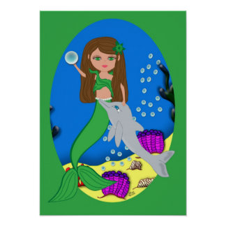 Muirenn the Green Mermaid and Dolphin Poster