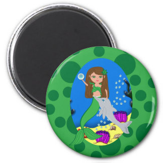 Muirenn the Green Mermaid and Dolphin Round Magnet