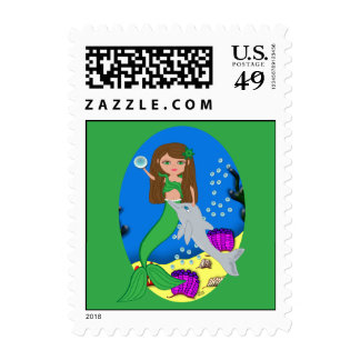 Muirenn the Mermaid and Dolphin Postage