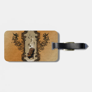 Muisc, microphone and key notes luggage tag