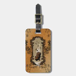Muisc, microphone and key notes travel bag tag