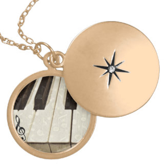 Muisc note & Keys_ Gold Plated Necklace
