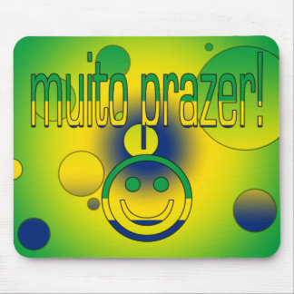 Muito Prazer! Brazil Flag Colors Pop Art Mouse Pad
