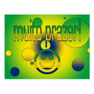 Muito Prazer! Brazil Flag Colors Pop Art Postcard