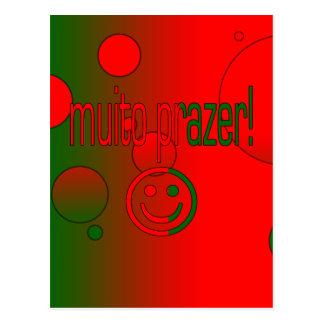 Muito Prazer! Portugal Flag Colors Pop Art Postcard