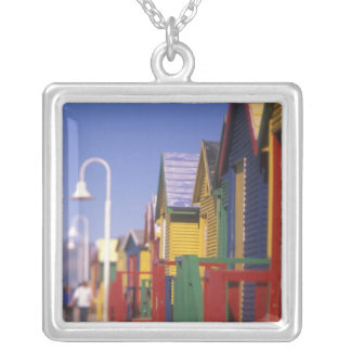 Muizenburg Bathing Boxes, near Capetown, South Silver Plated Necklace