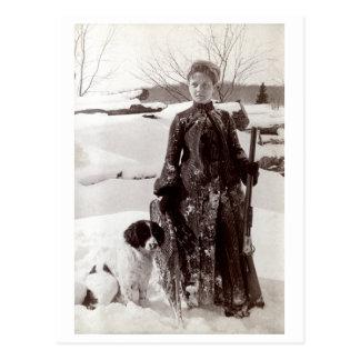 Mujer 1890 y su perro de caza de Bretaña Tarjetas Postales