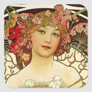 Mujer 1897 de Champán - F. Champenois Imprimeur Pegatina Cuadrada