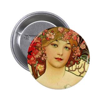 Mujer 1897 de Champán - F. Champenois Imprimeur Pin Redondo 5 Cm