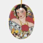 Mujer 1937 de Panamá Carnaval del vintage Adorno Navideño Ovalado De Cerámica