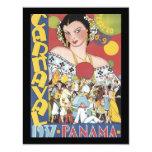 """Mujer 1937 de Panamá Carnaval del vintage Invitación 4.25"""" X 5.5"""""""