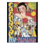Mujer 1937 de Panamá Carnaval del vintage Postal