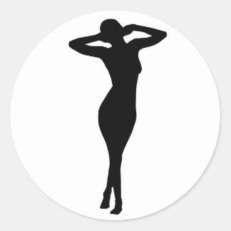 Mujer 6 pegatina redonda