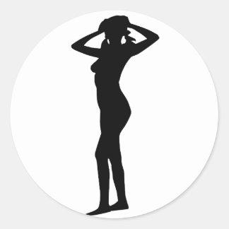 Mujer 7 pegatina redonda
