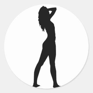 Mujer 9 pegatina redonda