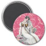Mujer adaptable del vintage imán redondo 7 cm