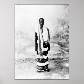 MUJER AFRICANA CIRCA 1900 PÓSTER