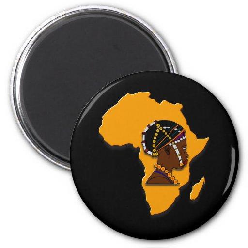 Mujer africana en el continente imán redondo 5 cm