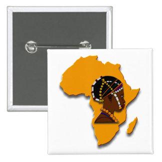 Mujer africana en el continente pin cuadrado