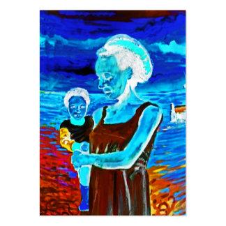 Mujer africana y niño, surrealistas tarjetas de visita grandes