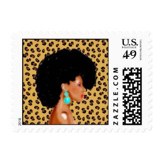 Mujer afroamericana estampillas