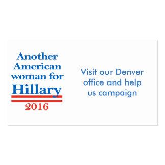 Mujer americana para Hillary Clinton Tarjetas De Visita